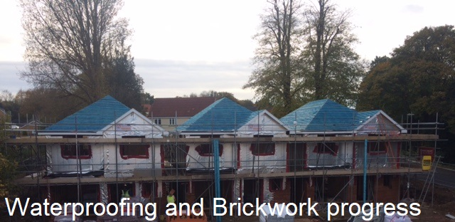 08 Waterproofing and first lift brickwork in progress